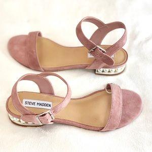 STEVE MADDEN Pearl Heel Cashmere Mauve Sandals 8